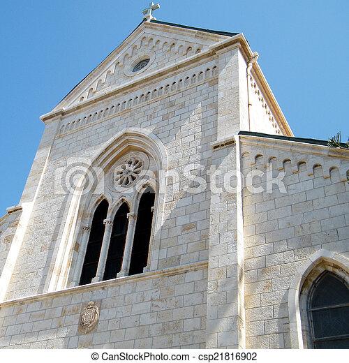 jaffa, franciscan, st. 。, ペディメント, アンソニー, 教会, 2011 - csp21816902