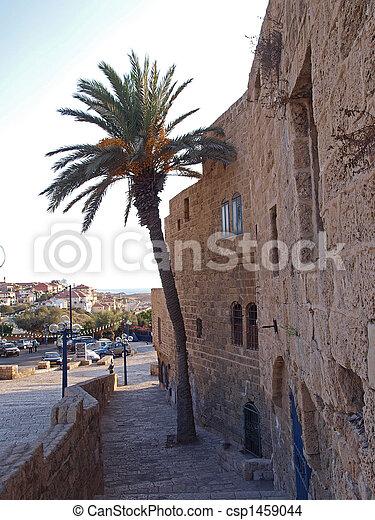 jaffa, israel, ruas, antigas - csp1459044