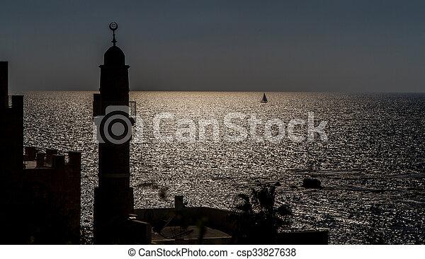 jaffa, sylwetka, stary, minaret - csp33827638