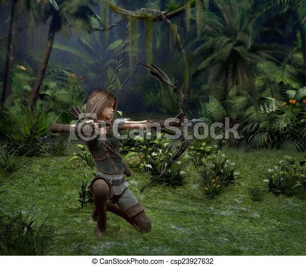 jager, weinig; niet zo(veel), cg, jungle, 3d - csp23927632