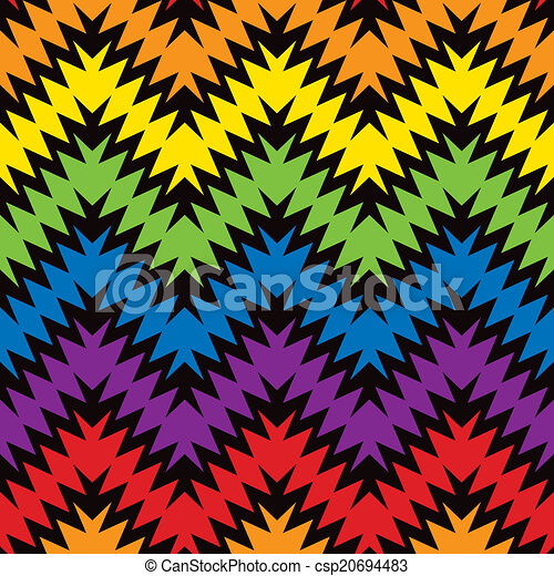Spiky Zigzag Seamless Pattern In Primary And Secondary Colors