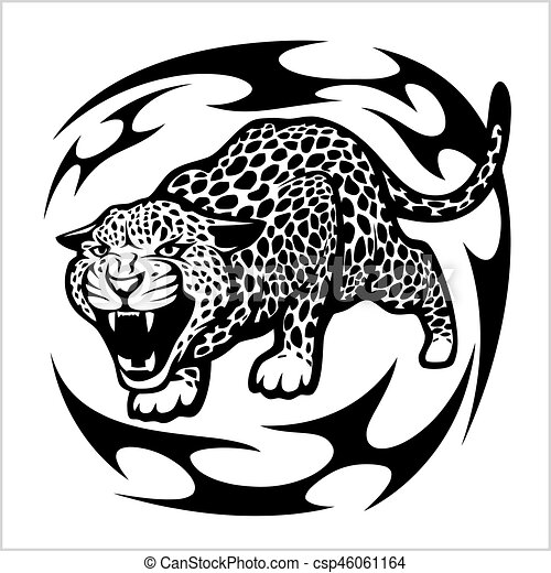 Jaguar Tribal Tattoo Isolated On White Vector Illustration