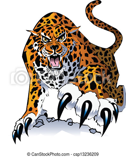 an illustration of a stalking growling jaguar walking toward viewer rh canstockphoto com jaguar clipart logo jaguar clipart png