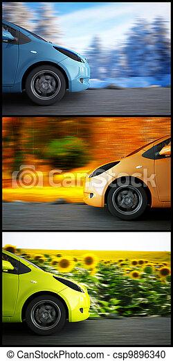 jahreszeiten, auto, hoch, hintergrund, geschwindigkeit, landschaftsbild - csp9896340