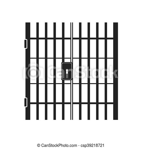 jail bars key hole vector graphic icon - csp39218721