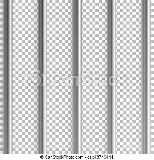 Jail Bars Vector Illustration. Isolated On Transparent Background. 3D Iron Or Steel Prison House Grid Illustration - csp48740444