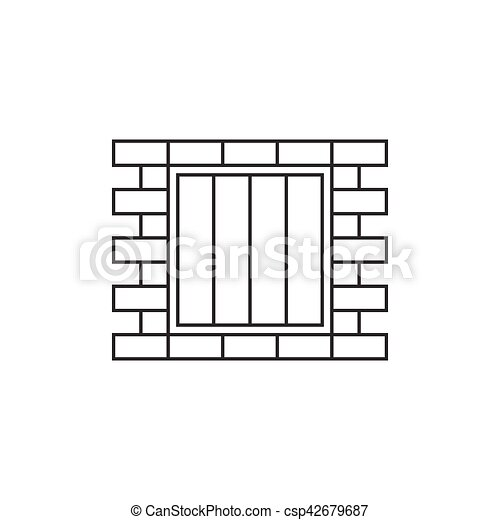 Jail window line icon - csp42679687