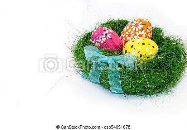 jaja, łuk, tło, biały, trawa, wielkanoc, gniazdo - csp54051678