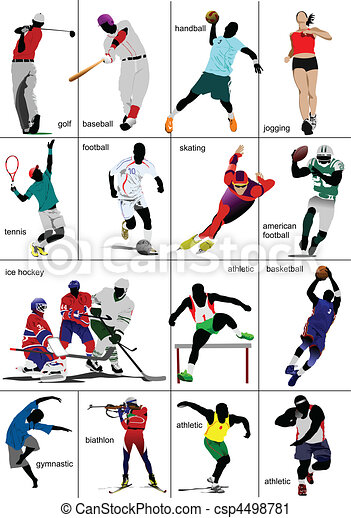 jakiś, sports., rodzaje, collection. - csp4498781