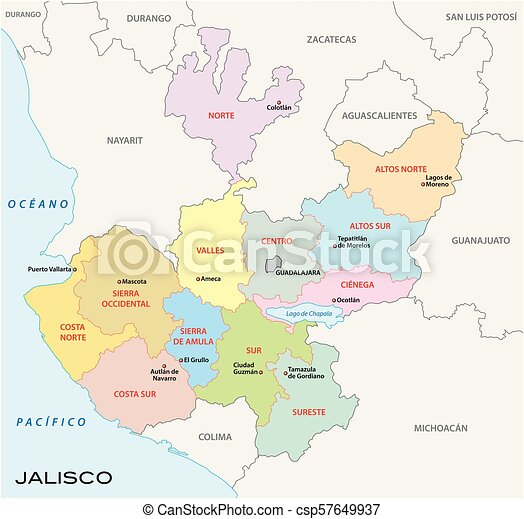 Jalisco Administrative And Political Vector Map Mexico