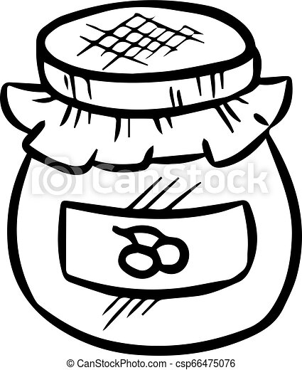 Jam jar doodle. Isolated hand drawn sketch - csp66475076