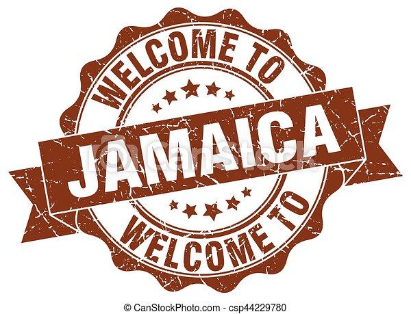 jamaïque, rond, ruban, cachet - csp44229780