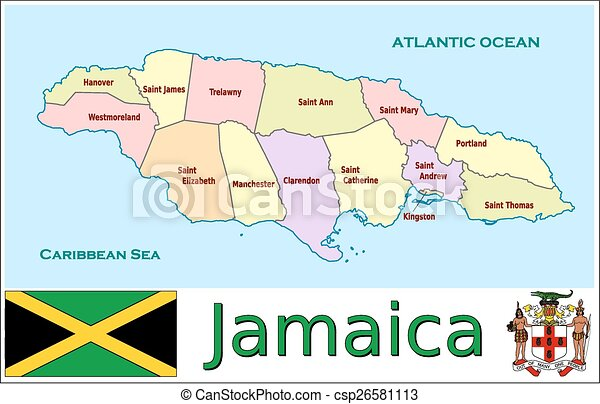 Jamaica administrative divisions. Administrative divisions map flag ...