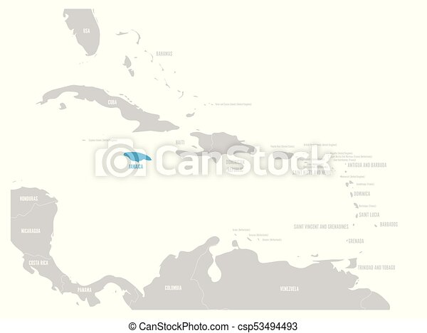 Jamaica blue marked in the map of Caribbean. Vector illustration