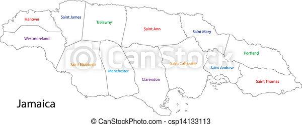 Jamaica map. Administrative divisions of jamaica.