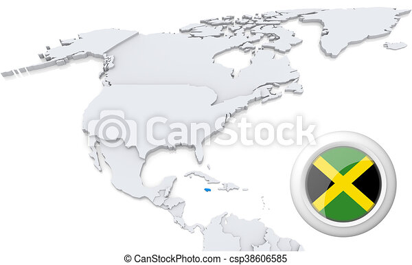 Jamaica on a map of north america highlighted jamaica on map of jamaica on a map of north america csp38606585 gumiabroncs Image collections