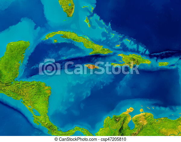 Jamaica on physical map jamaica highlighted in red on clipart jamaica on physical map csp47205810 gumiabroncs Images