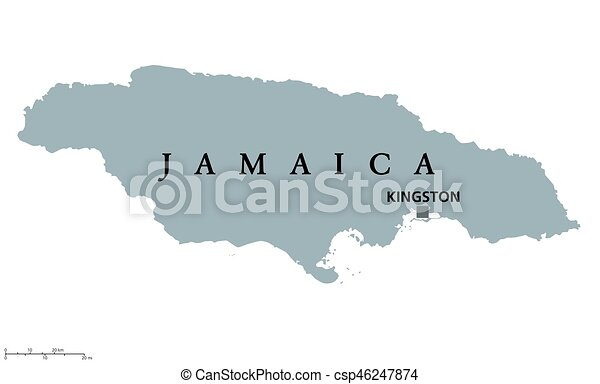 Jamaica political map with capital kingston country in the