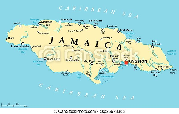 jamaica karta Jamaica, politisk, karta. Jamaica, scaling., illustration., karta  jamaica karta