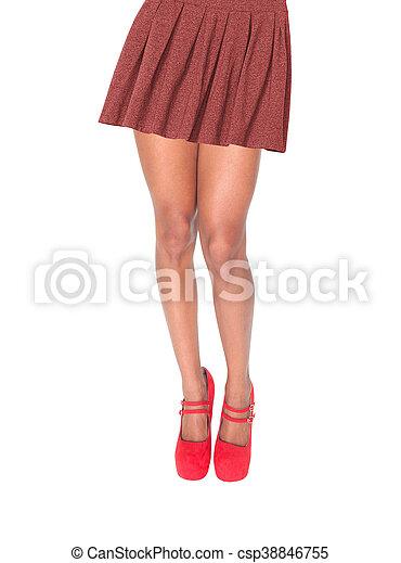 jambes, femme, jupe, isolé - csp38846755