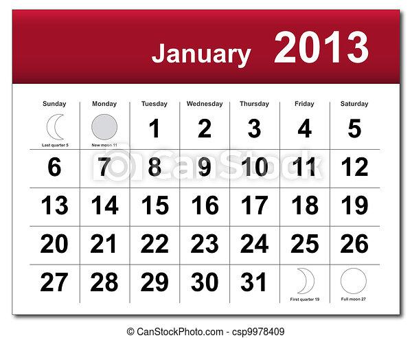 janeiro, calendário, 2013 - csp9978409