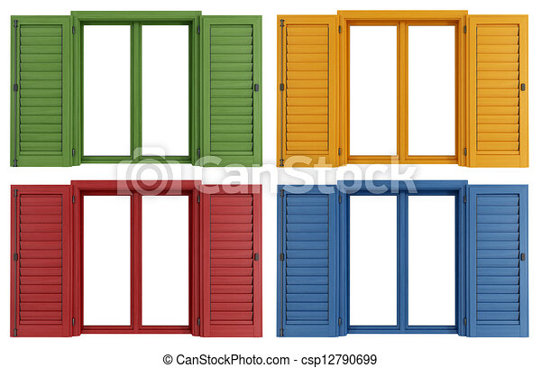 Janelas coloridos jogo coloridos janelas isolado fazendo branca - Stock finestre pvc ...