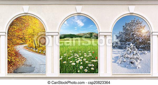 janelas, estações - csp20823364