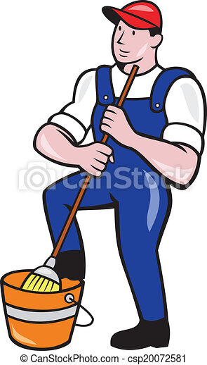 janitor cleaner holding mop bucket cartoon illustration of rh canstockphoto com janitor clipart images janitorial clipart