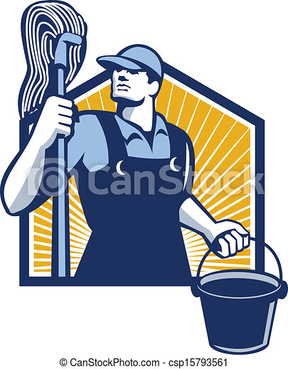 janitor cleaner holding mop bucket retro illustration of a clip rh canstockphoto com janitorial clip art images janitorial clipart