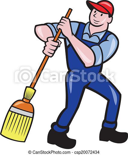 Janitor Cleaner Sweeping Broom Cartoon - csp20072434
