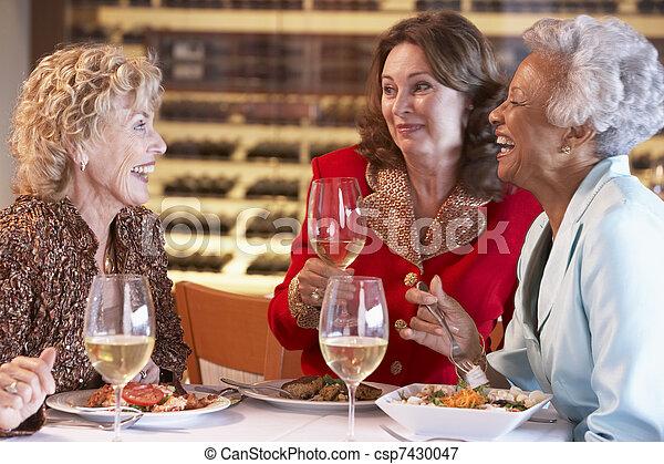 jantar, amigos, tendo, junto, restaurante - csp7430047
