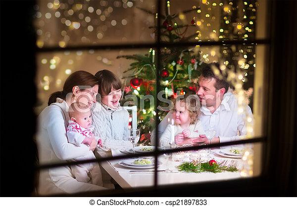 jantar, natal, família - csp21897833