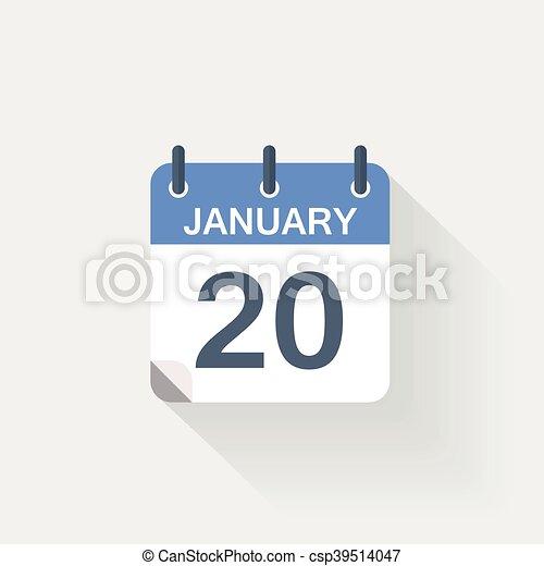 januari, kalender, 20, pictogram - csp39514047
