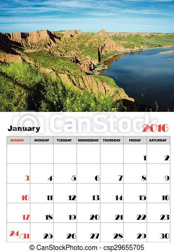 januari, kalender, 2016 - csp29655705