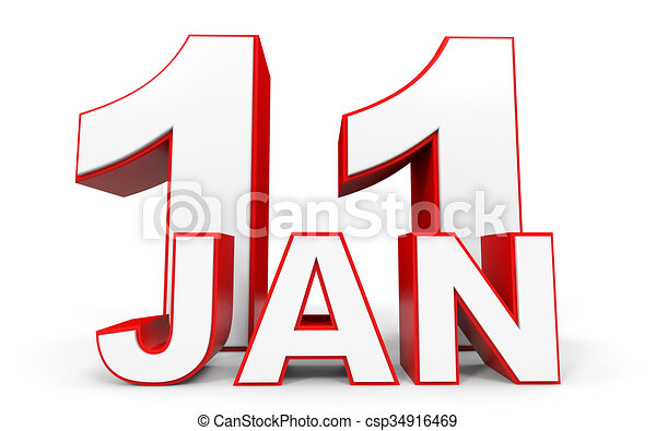 january 11 3d text on white background illustration stock rh canstockphoto com january clip art for teachers january clip art pictures
