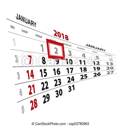 january 2 highlighted on 2018 calendar week starts from sunday vector illustration