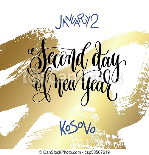 january 2 second day of new year kosovo hand lettering csp53507619