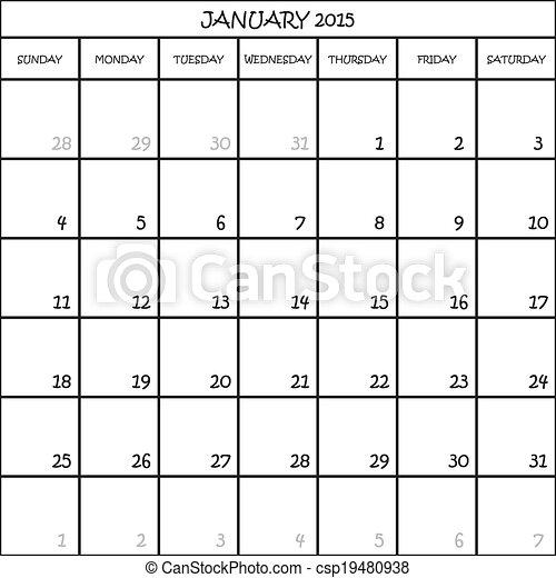 JANUARY 2015 CALENDAR PLANNER MONTH ON TRANSPARENT BACKGROUND - csp19480938