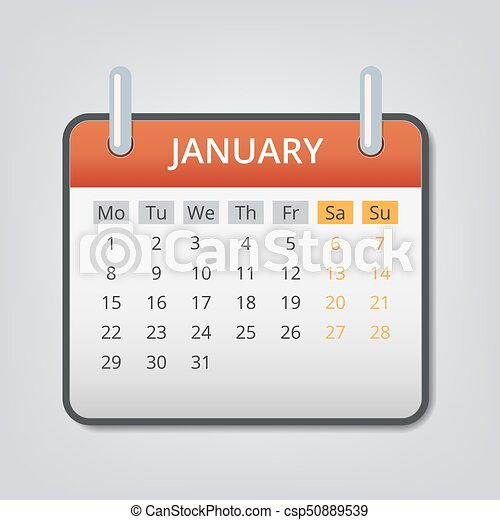January 2018 calendar concept background, cartoon style ...