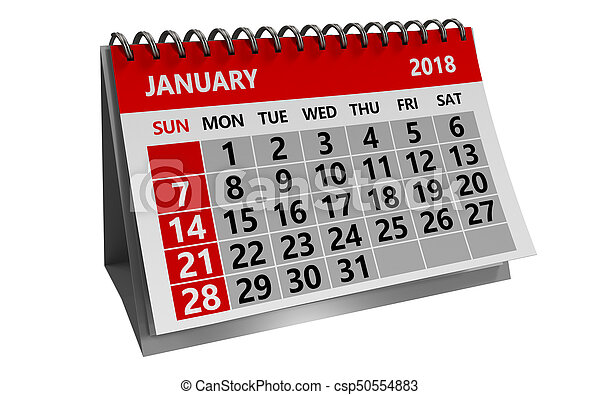 3d illustration of january 2018 calendar isolated over white ...