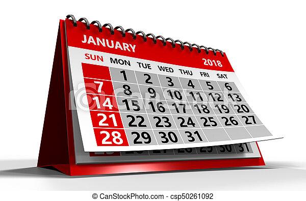 3d illustration of january 2018 calendar over white... stock ...