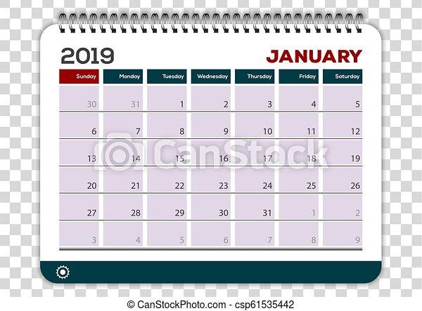 Vector Art - English calendar 2019. EPS clipart gg106573973 - GoGraph
