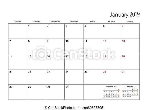 January 2019. Calendar Planner For 2019 Year. Vector Design Print.. Royalty  Free Cliparts, Vectors, And Stock Illustration. Image 97714706.