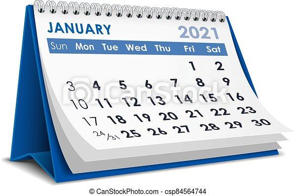 January 2021 calendar. 3d desktop calendar january 2021 in ...