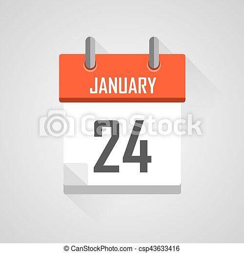 Calendar Date.January 24 Calendar Date Month Icon