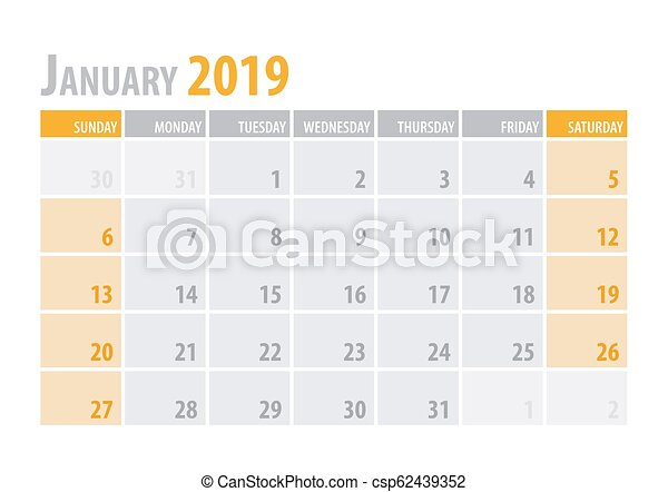 Calendar Planner For January 2019. Week Starts On Monday. Printable..  Royalty Free Cliparts, Vectors, And Stock Illustration. Image 97734800.