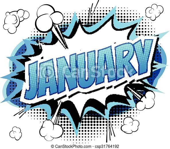 January - Comic book style word - csp31764192