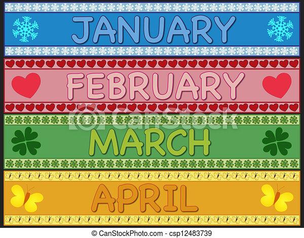 January february march april. Illustration of january ...