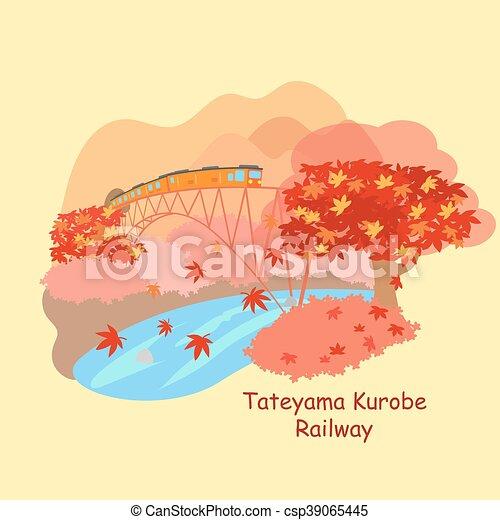 japão, estrada ferro, kurobe, tateyama - csp39065445
