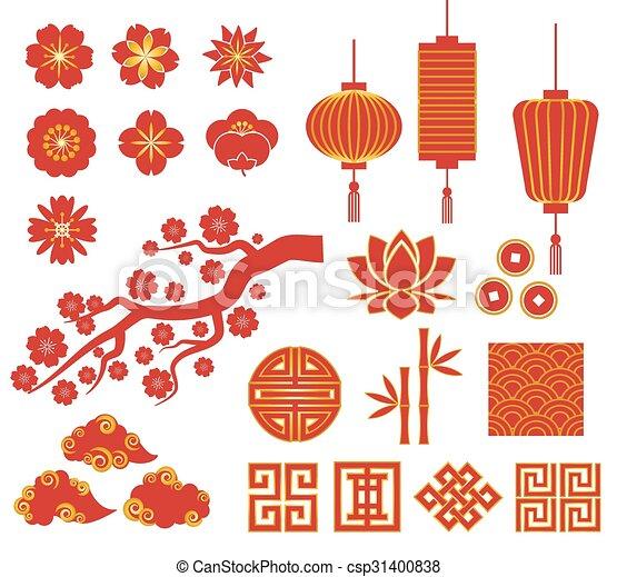 Chinos, coreanos o iconos japoneses para el año nuevo chino - csp31400838